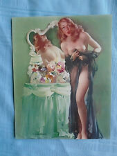 """Vintage 50s Showalter Pin Up Redhead Negligee Girl Litho """"Sheer Surprise"""" 9 x 7"""