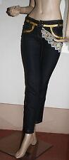 Pantalone donna nero con inserti in pizzo e oro tg xs s 40/42 made in italy