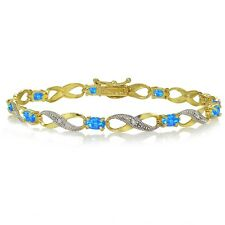 Gold Tone over 925 Silver Created Blue Opal and Diamond Accent Infinity Bracelet