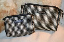 PAIR OF VINTAGE RALPH LAUREN BLACK WHITE HOUNDS TOOTH MAKE-UP COSMETIC BAGS