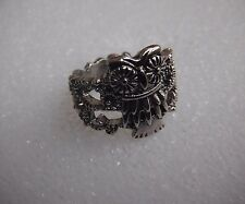 Owl Silver Filigree Ring Size 7