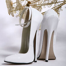 Ladies 18cm White Shoes Stilettos High Heels Buckle Sexy Pointed Toe party Shoes