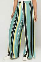 Bar III Pants High Rise Casual Wide Leg Striped Women Multi Sz L NEW NWT 398