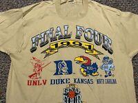 FINAL FOUR NCAA 1991 Duke Kansas UNLV vintage 90s rare XL t shirt single stitch