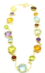 14K Yellow Gold Fancy Cut Multi-Colored Round Shaped Gemstone Necklace 36 Inches
