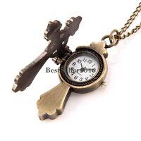 Vintage Bronze Tone Cross Quartz Pocket Watch Pendant Necklace w Rolo Chain