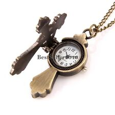 Vintage Bronze Tone Cross Quartz Pocket Watch Pendant Necklace w Rolo Chain