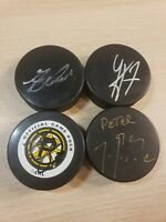 4 NHL AHL Boston Bruins - Providence Autographed Hockey Pucks Unknown Players