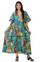 Indian Cotton Frida Kahlo Printed Long Kaftan Dress Turquoise Caftan Sleepwear