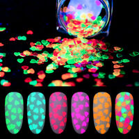 Glitter Fluorescent Heart Nail Sequins 3D Decoration Flakes Valentine's Night