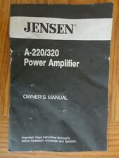 Jensen A-220 / 320 Power Amplifier Owner's Manual Instructions
