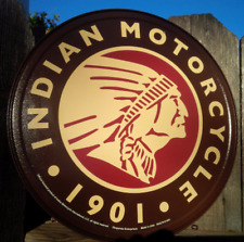 Indian Round Logo Motorcycles Vintage Sign Tin Metal Wall Garage Rustic