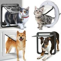 Pet Dog Cat Flap Door Wall Mount Magnetic Locking Sliding Screen Round Square
