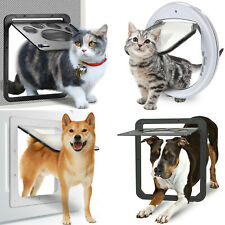 Pet Dog Cat Flap Door Wall Mount Magnetic Locking Sliding Screen Round Square