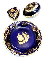 "Beautiful 2""-4"" Limoges Vanity Lot Set Cobalt Blue Trinket Box Dish"