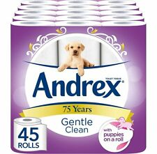 Andrex Gentle Clean Toilet Roll Tissue Paper Pack of 45 Rolls Free P&P NEW