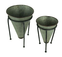 Galvanized Metal Rustic Cone Shaped Tabletop Planters Set of 2