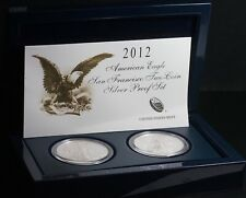 2012 San Francisco Two Coin Silver Proof American One Dollar Eagle Set w/ Box