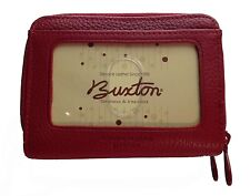 New Buxton Womens Mini Leather Credit Card ID Wizard Wallet Purse - Red