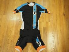 CUORE Gold Tri Suit Skinsuit Women's Small 2 in 1 triathlon Blue White Cycling