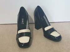 NEXT MONOCHROME BLACK WHITE PATENT CHUNKY HIGH HEEL LOAFER MULES COURT SHOES - 5
