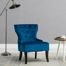 Awesome Rheya Velvet Wing Back Occasional Accent Bedroom Chair Sapphire Blue Fabric  Tub