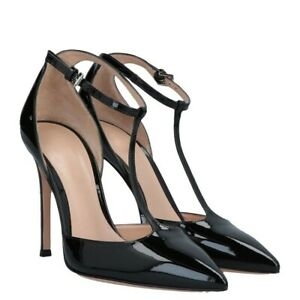 UK Ladies T-strap Pumps Ankle Strap High Heels Pointed Toe Casual Shoes Black