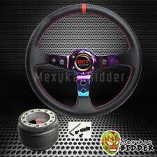 350mm Neo Chrome Deep Dish PVC Leather Steering Wheel Hub Kit For Integra 94-01
