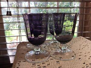 4 vintage crystal amethyst optic paneled 12 oz goblets glasses
