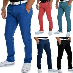 Mens Chino Trousers Casual Regular Fit Rich Stretchy Cotton W30-W40 L33 NEW