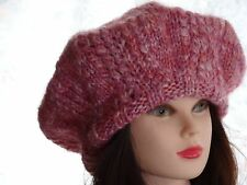 Hand Knitted, hand made slouchy ladies/men's beret, warm hat for the winter