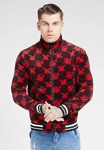 SikSilk Mens High Neck Bomber Velvet/velour Jacket - RED & NAVY (Size - M) **New