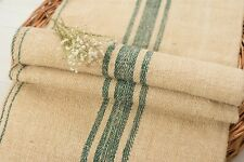 Grain Sack Fabric Faded Green stripes Antique Grain sack fabric hand made
