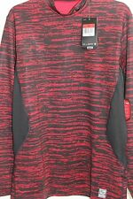 NWT! Nike Men's Pro Combat Hyperwarm Dri-FIT Red Fitted Mock Neck Shirt