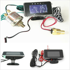 Universal Car LCD 4 IN 1 Water Temperature/Oil Pressure/Fuel/Voltage Gauges Kit