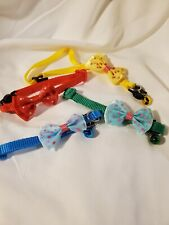 set of 4 kitty, cat collars with bows, various colors