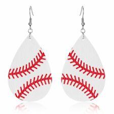 Handmade Leather Earrings Baseball Waterdrop Hook Dangle Ear Stud Women Jewelry