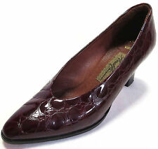 Amalfi Womens Heels 5.5 Pillow Viceroy Red Wine Patent Leather Croc Pumps Italy