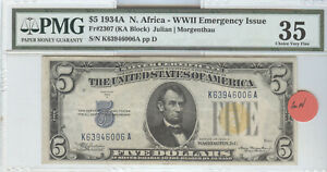 SERIES 1934-A NORTH AFRICA EMERGENCY ISSUE FOR WW-II $5 SILVER CERTIFICATE