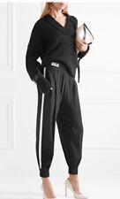 Fendi logo track pants black white outside stripe elastic cuff NWT size 38