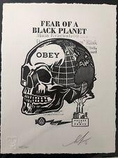 "SHEPARD FAIREY  ""Skull Of A Black Planet"" Letterpress Obey GIANT print MINT"