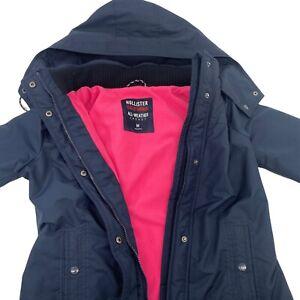 Hollister California All-Weather Hooded Navy Blue Fleece Lined Jacket Sz M READ