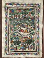 Amate Bark painting Bull Riding Village scenery Mexican Folk art