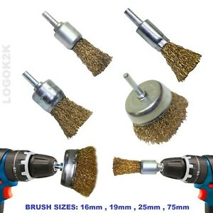 Rotary Drill Wire Brush Brass Wheel Cup Metal Pencil Brush Sanding Rust Removal