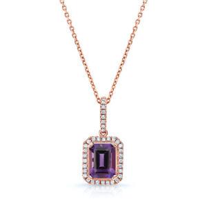 14k Rose Gold Emerald Cut Purple Amethyst Diamond Pendant Necklace Natural 1.68