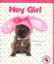 Hey Girl Cute Puppy Dog Studio Pets Easter Greeting Card Greetings Cards