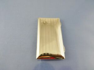 """ART DECO CALLING CARD CASE with cards STERLING BY CSG&Co BIRMINGHAM 1946 """"AJK"""""""