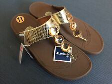 New Fitflop Women 11 Gold Jewels Brown Thong Sandals
