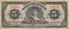 México  5  Pesos   8.11.1961  Series  MK  Prefix  Z  Circulated Banknote