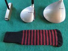 Knitted zebra style Fairway & Driver Golf Club head cover Black / Burgundy